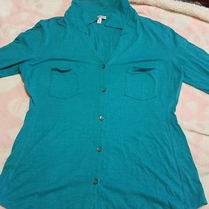 Teal colored button up blouse